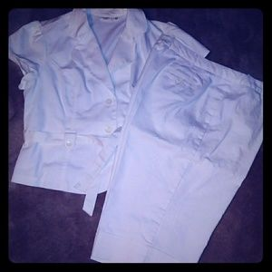 Women's 2 pc White Denim Suit